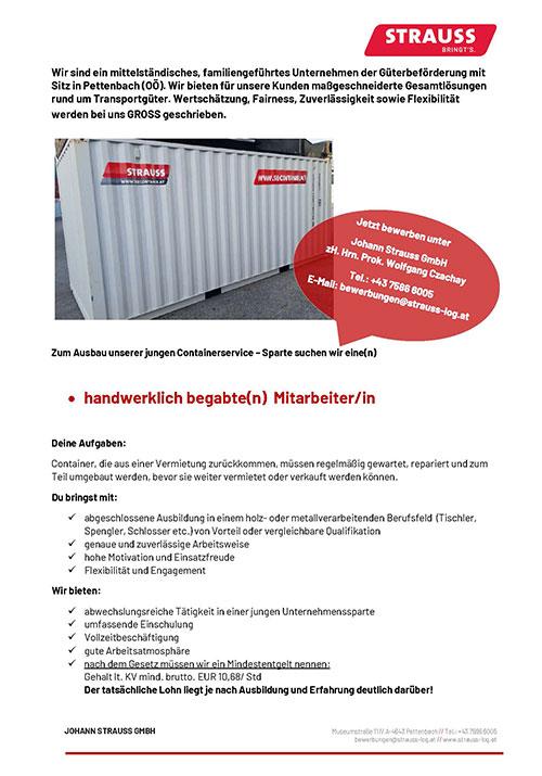 Stelleninserat - Mitarbeiter Containerservice
