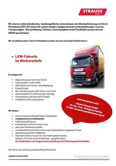 Stelleninserat - LKW-Fahrer im Werksverkehr