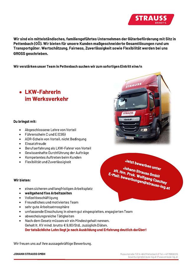 Stellenangebot LKW-Fahrer Werksverkehr